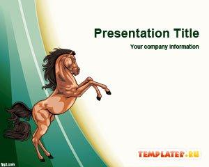 Шаблон PowerPoint Дикая лошадь