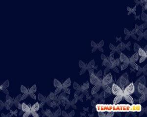 Шаблон PowerPoint Синие бабочки
