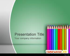 Шаблон PowerPoint Цветные школьные карандаши