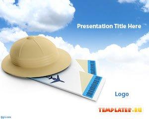Шаблон PowerPoint Шляпа и билеты
