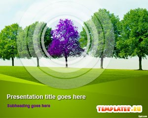 Шаблон PowerPoint Фиолетовое дерево