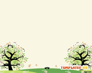 Шаблон PowerPoint Два дерева на поляне